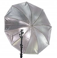 "45"" Black/Silver Umbrella with 10 Panels"