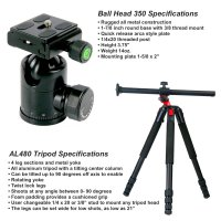 4 Sec Aluminum Tripod with Tilt Center Column, BH350 Head