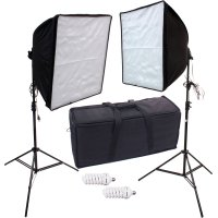 680 eWatts 20inch Dual CFL Softbox Kit w/Bag