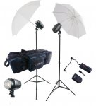 "2 Flash Kit, Inc. 2 X150, 2 Stands, 2 36"" Umbrella, 1-Wireless"