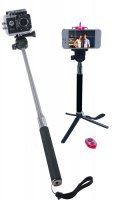 Selfie Stick for GoPro, Cameras, w/ Tripod, Smartphone Holder