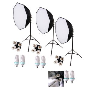 2040 eWatts 28in HP Octo 3 Softbox Kit-3 6ft Stands-6 CFLs