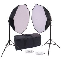680 eWatts 28inch Octagonal Dual CFL Softbox Kit w/Bag