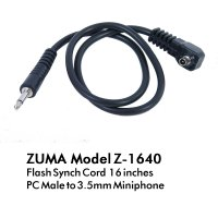 Flash Sync Cord 16 Inch 3.5mm Miniphone to PC Male