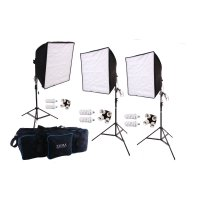 2040 eWatts 20in HP Sq 3 Softbox Kit-3 6ft Stands-6 CFLs, Bag